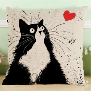Kissenbezug Longra Vintage Motiv Katze schwarz-weiss