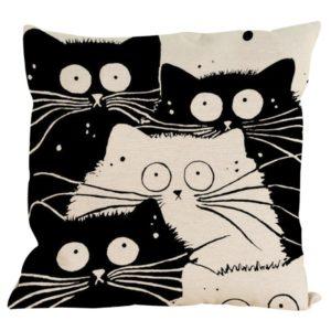 Kissenbezug Longra Vintage Motiv Katzenfamilie